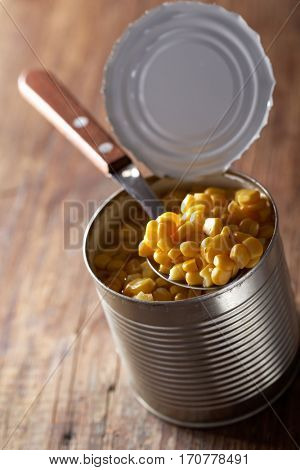 Canned sweet corn in a can closeup