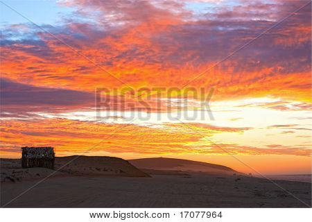 sunset main attraction of the beautiful fisherman village of Jericoacoara in ceara state brazil