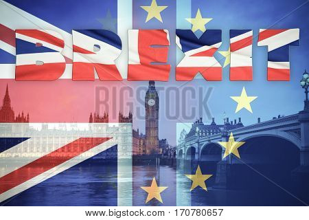 flags of UK and EU combined over icons of London - Brexit concept