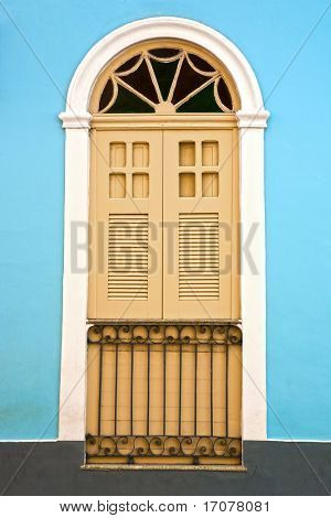 window house of the historic center of the city of sao luis of maranhao in brazil poster