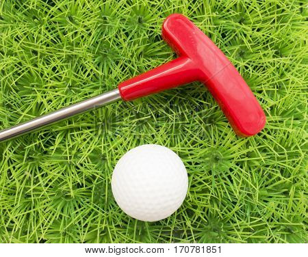 Red Putter And Golf Ball On A Background Of Green Grass
