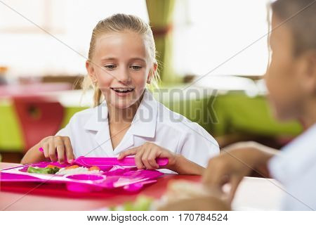 Smiling schoolgirl having lunch during break time in school cafeteria