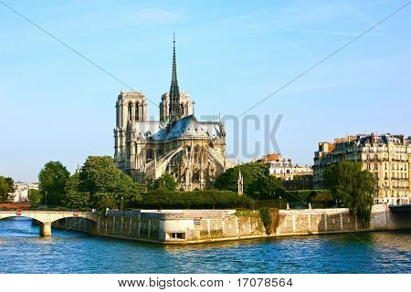 Notre Dame de Paris carhedral on the la seine riversid