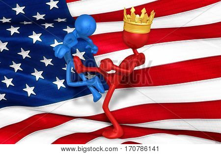 The King Of America Kicking Another The Original 3D Characters Illustration