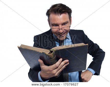 man caucasian professor teaching cheerful isolated studio on white background