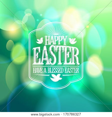 Easter calligraphic design on a green bokeh lights background, rasterized version