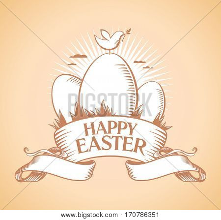 Happy Easter retro design with eggs, ribbon and bird on a daybreak., rasterized version