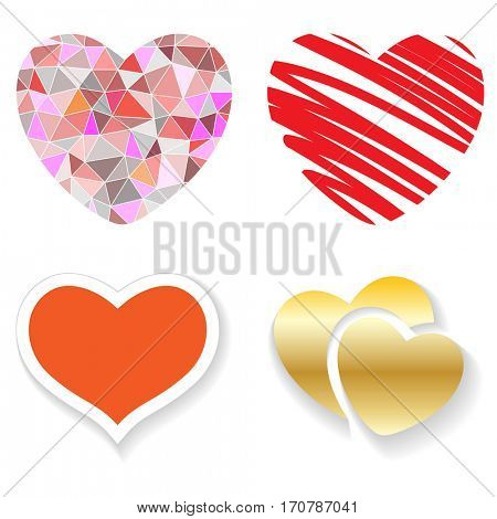 Set of red hearts on a white background. illustration.
