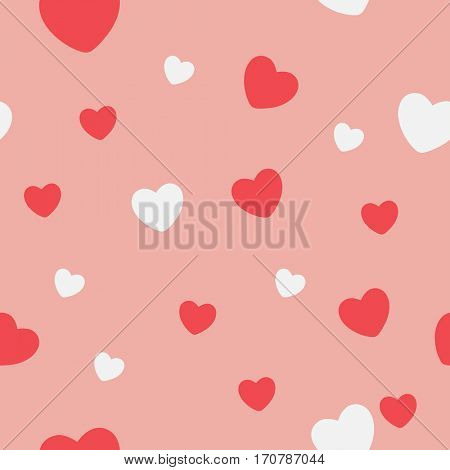 Red and white Hearts on a pink background. Abstract seamless pattern. illustration.