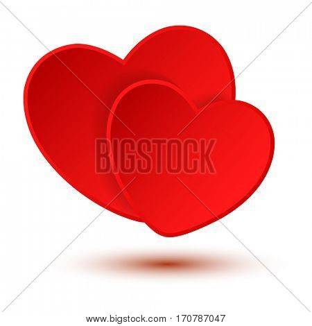 Two red Hearts on a white background. Valentines Day Background. illustration.
