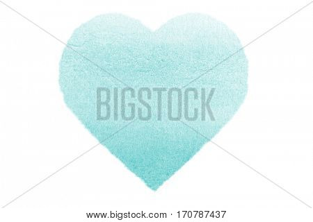 Painted Turquoise Watercolour Heart isolated on white