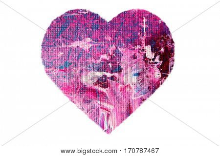 Painted Pink Heart isolated on white