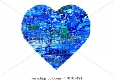 Painted Blue Abstract Heart isolated on white