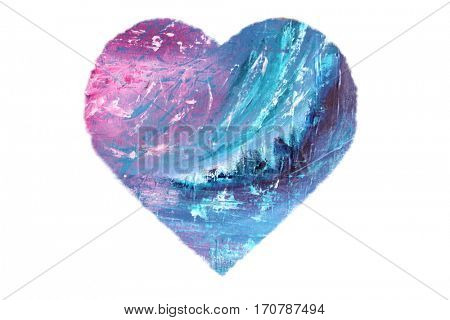 Painted Blue and Pink Heart isolated on white