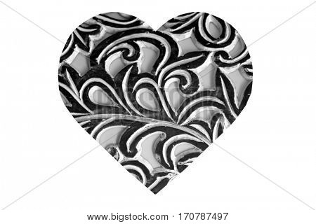 Black and White Abstract Heart isolated on white
