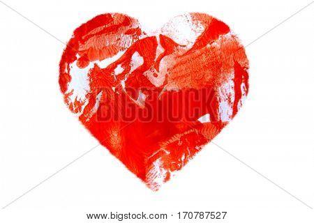 Painted Abstract Red Heart Isolated on white