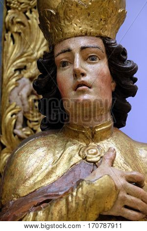 ZAGREB, CROATIA - JUNE 18: St. Emeric, a statue of the ancient altar of St. Ladislaus in Zagreb Cathedral, exhibited in the Museum of Arts and Crafts in Zagreb, on June 18, 2015.