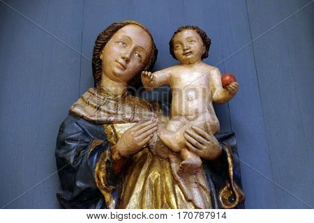 ZAGREB, CROATIA - JUNE 18: Virgin and Child, 15th century, from the church of the Queen of the Holy Rosary in Rrmetinec exhibited in the Museum of Arts and Crafts in Zagreb, on June 18, 2015.