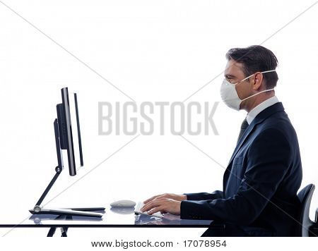 caucasian man cumputing computer wearing protection mask concept isolated studio on white background