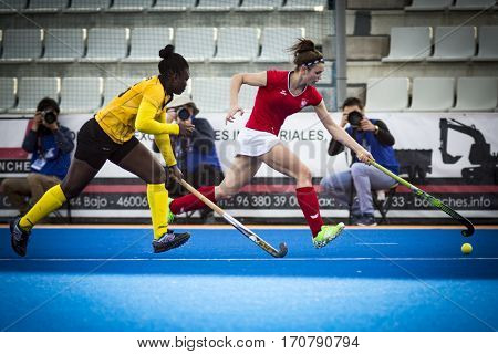VALENCIA, SPAIN - FEBRUARY 7: Players during Hockey World League Round 2 match between Ghana and Poland at Betero Stadium on February 7, 2017 in Valencia, Spain