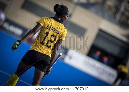 VALENCIA, SPAIN - FEBRUARY 7: Martha Sarfoa during Hockey World League Round 2 match between Ghana and Poland at Betero Stadium on February 7, 2017 in Valencia, Spain
