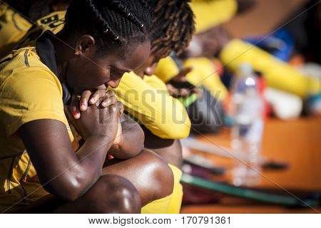 VALENCIA, SPAIN - FEBRUARY 7: Ghana player during Hockey World League Round 2 match between Ghana and Poland at Betero Stadium on February 7, 2017 in Valencia, Spain