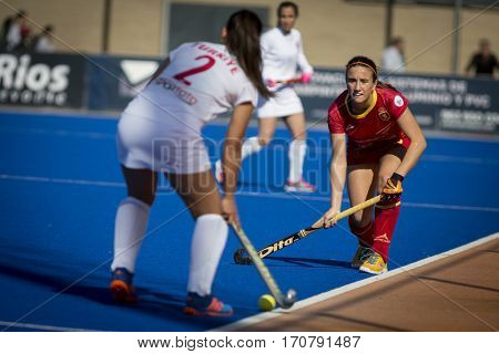 VALENCIA, SPAIN - FEBRUARY 7: (R) Belen Iglesias Hockey World League Round 2 match between Spain and Turkey at Betero Stadium on February 7, 2017 in Valencia, Spain