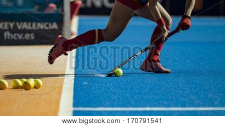 VALENCIA, SPAIN - FEBRUARY 7: Spanish player during Hockey World League Round 2 match between Spain and Turkey at Betero Stadium on February 7, 2017 in Valencia, Spain