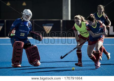 VALENCIA, SPAIN - FEBRUARY 7: Spanish players during Hockey World League Round 2 match between Spain and Turkey at Betero Stadium on February 7, 2017 in Valencia, Spain