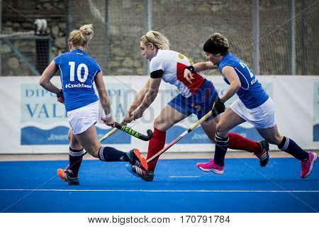 VALENCIA, SPAIN - FEBRUARY 7: (C) Sadovaia, (10) Kyndlova during Hockey World League Round 2 match between Russia and Czech Republic at Betero Stadium on February 7, 2017 in Valencia, Spain