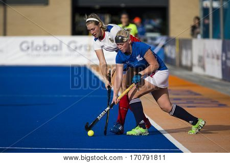 VALENCIA, SPAIN - FEBRUARY 7: (L) Svezhentseva, (R) Lacina during Hockey World League Round 2 match between Russia and Czech Republic at Betero Stadium on February 7, 2017 in Valencia, Spain