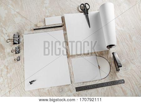 Blank stationery set. Mockup for design presentations and portfolios. Template for branding identity. Blank objects for placing your design.