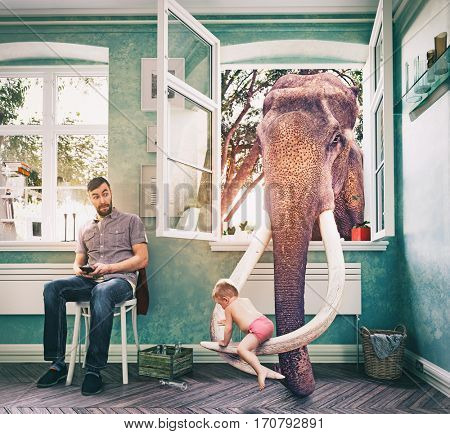 Elephant takes the child through a window, while his father looks distracted.  Photo combination concept