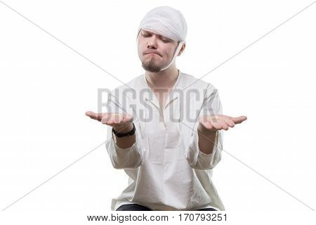 Puzzled patient and choice on white background
