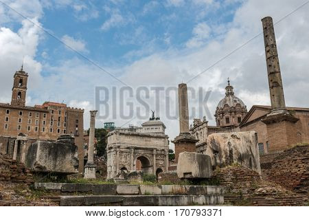The ancient ruins of the Roman Forum, Italy,