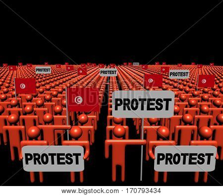 Crowd of people with protest signs and Tunisian flags 3d illustration