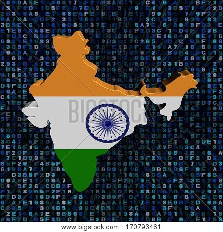 India map flag on hex code 3d illustration