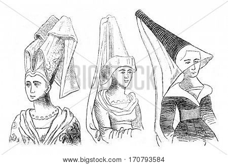 Hairstyles from a manuscript of the fifteenth century, vintage engraved illustration. Magasin Pittoresque 1852.