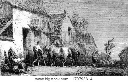 Etching not completed by the machine, vintage engraved illustration. Magasin Pittoresque 1852.