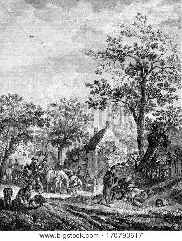 Flemish halt array Isaac Van Ostade, vintage engraved illustration. Magasin Pittoresque 1852.