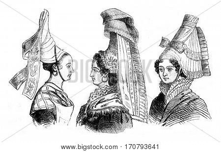 Current hairstyles of Normandy, vintage engraved illustration. Magasin Pittoresque 1852.