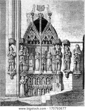 Restore monument erected to the counts of Neuchatel, in the Collegiate Neuchatel, vintage engraved illustration. Magasin Pittoresque 1852.