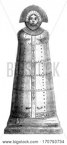 The Iron Lady, formerly in Nuremberg, now in the collection of Baron Diedrich, vintage engraved illustration. Magasin Pittoresque 1852.