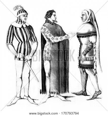 Varlet, costume Lords chamber and city, vintage engraved illustration. Magasin Pittoresque 1846.