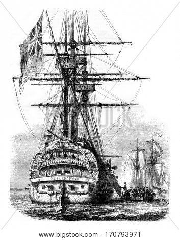 Bellerophon, Napoleon embarkation for England, July 5, 1815, vintage engraved illustration. Magasin Pittoresque 1846.