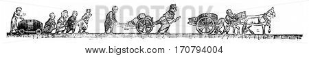 Sled, Handcart, Dray wine, vintage engraved illustration. Magasin Pittoresque 1846.