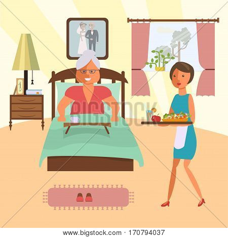 Elderly woman lying in bed in a hotel room. Maid brings lunch. Vector illustration eps 10