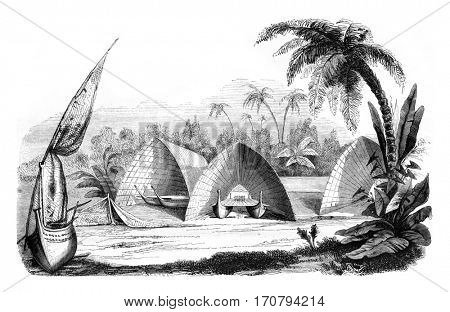 Central Polynesia, Hangars fleet, Tonga Tabou, vintage engraved illustration. Magasin Pittoresque 1846.