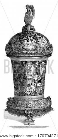 Inlaid Cup fifteenth century, Retained the British Museum in London, vintage engraved illustration. Magasin Pittoresque 1846.