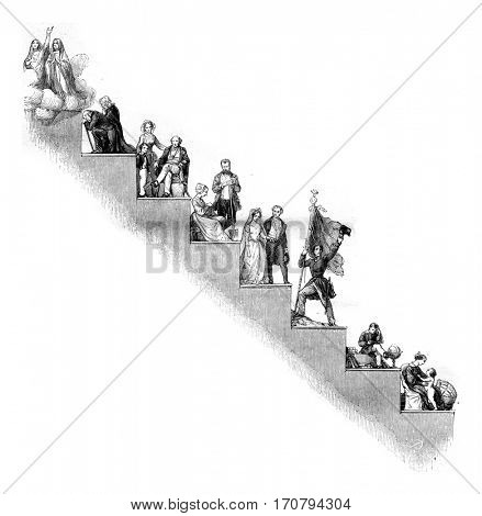 Developpment of human life on a series of degrees which is elevent each child up to the age wall, vintage engraved illustration. Magasin Pittoresque 1846.